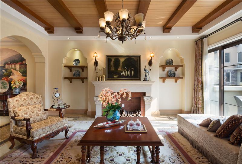 美式别墅装饰大理石效果图